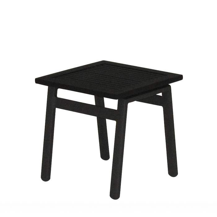 Azore Square Side Table - Black Aluminium Slatted Top