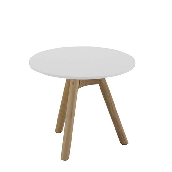 Dansk Round Side Table - White Acrylic Stone Top