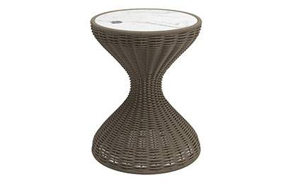 Bells Woven Side Table - Bianco Ceramic Top
